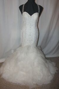 NWT-Justin-Alexander-8868-Size-10-Ivory-nude-Mermaid-wedding-bridal-gown-2299