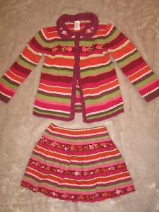 GYMBOREE-Toddler-Girls-Knit-Multi-color-Jacket-and-Short-Skirt-Set-Cotton-SZ-4T