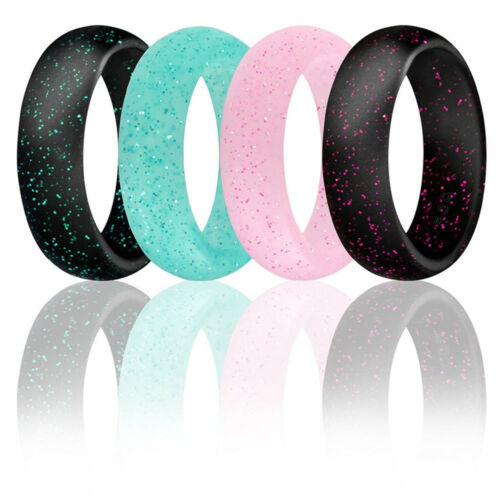 Fashion Women Glitter Rings Silicone Rubber Wedding Band Sports Jewelry Gift Gym