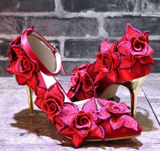 donna Satin Embroidery Flowers Pointed Toe High Slim Heels Bridal Stilettos E69