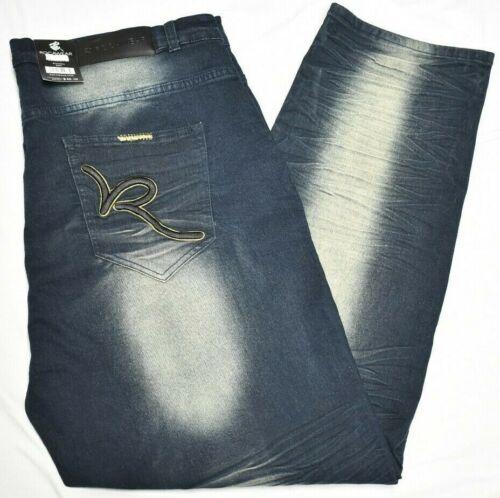 Rocawear Jeans Men Akshon Embroidered R Classic Fit Stretch Denim Rust Wash Q607