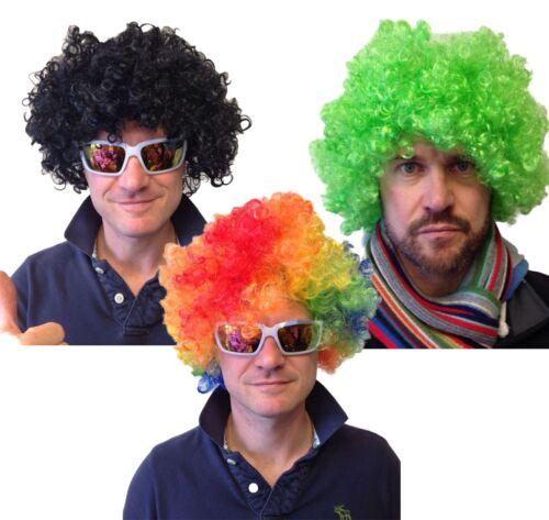 70/'s Black Afro Clown Wig Green Fancy Dress Circus 80/'s Disco Wigs
