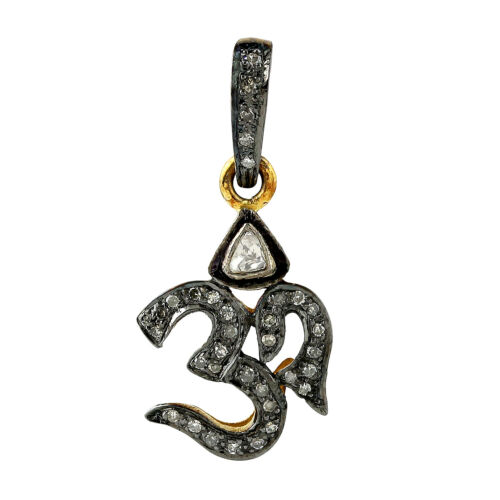 Religious Om Sign Charm Pendant 14kt Yellow Gold 0.19ct Pave Diamond Jewelry