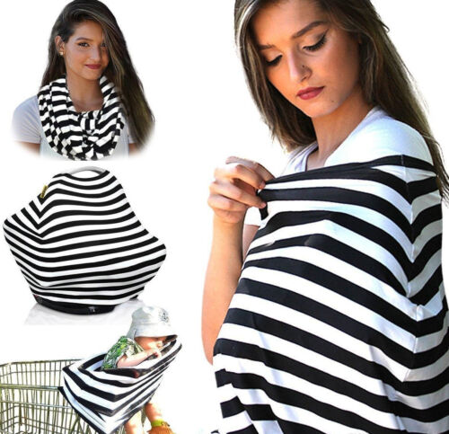 Nursing Cover Scarf Breastfeeding Cover /& Baby Car Seat Black /& White 4 in 1