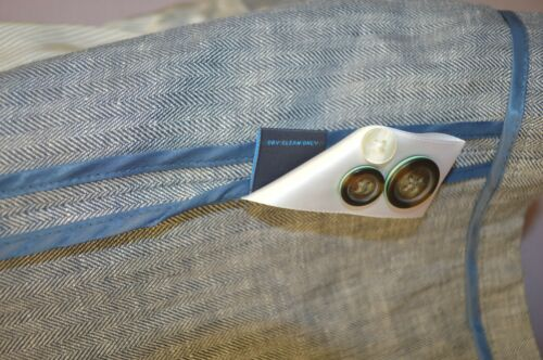 Roundtree Yorke Caribbean Blues Hommes Veste De Sport Veste blazer lin gris L XL