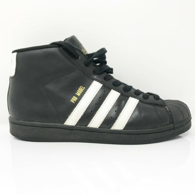 Adidas Mens Pro Model B39368 Black White Running Shoes Lace Up Mid Top Size 7.5