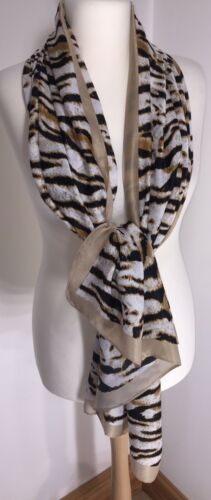 Cotton Viscose Silky Scarf White Silky Soft Cool Long Oversized Stunning NEW