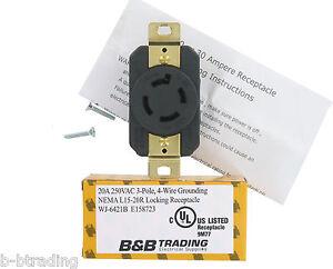 nema l15 20 20 amp 250v 3 216 3 pole 4 wire grounding single outlet receptacle ul ebay
