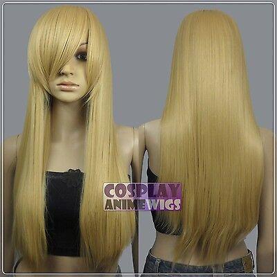 70cm Beige Blonde Heat Styleable Long Cosplay Wigs 76_086