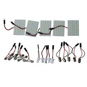 Panel-de-luz-interior-de-coche-5-un-48-SMD-LED-Festoon-Bombilla-Adaptador-De-Domo-T10-BA9S-N3R8