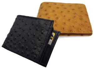 Men-039-s-Genuine-Leather-Bifold-Wallet-Embossed-Ostrich-Skin-Print-Cowboy-Western