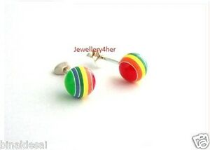 Girls-925-Sterling-Silver-Small-Bright-Multi-Rainbow-Round-Ball-Stud-Earrings-BN