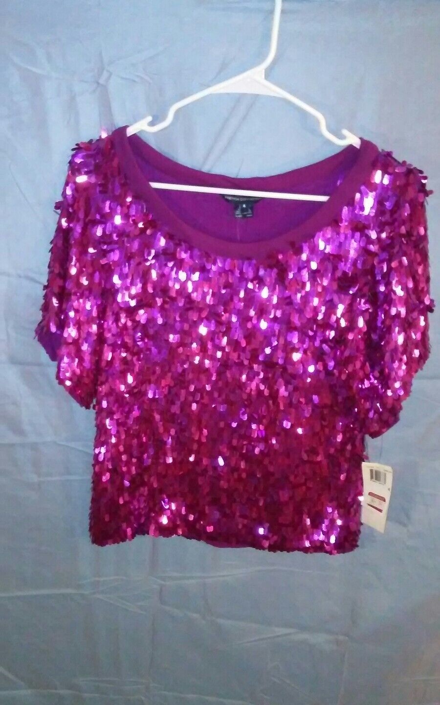 French Connection Dream Sequin T-Shirt Top Blouse Fuchsia Rosa sz 4 NWT