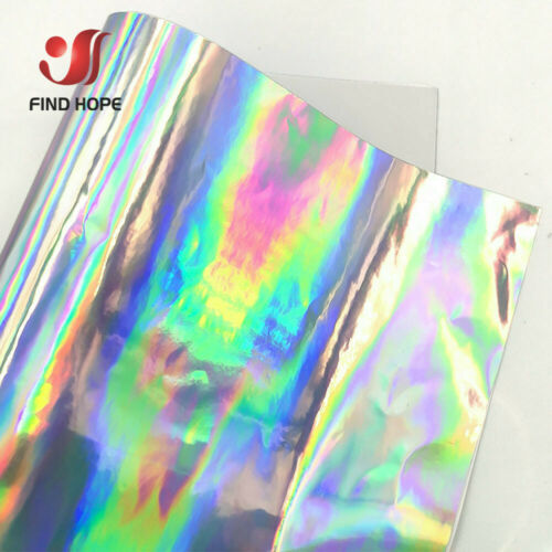 Holographi Rainbow Silver Craft Vinyl Self Adhesive Cutting Vinyl Cup//Wall//Glass