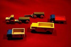 3 DDR Holzspielzeug- Autos u. 3 Zusatzfahrzeuge, LKW Alt Antik  50er 60er Jahre