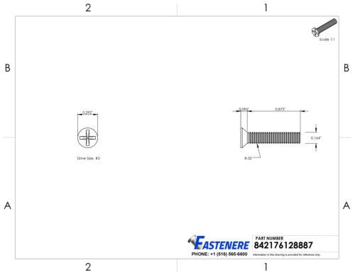 "8-32 x 7//8/"" Flat Head Machine Screws Stainless Steel 18-8 Qty 500"