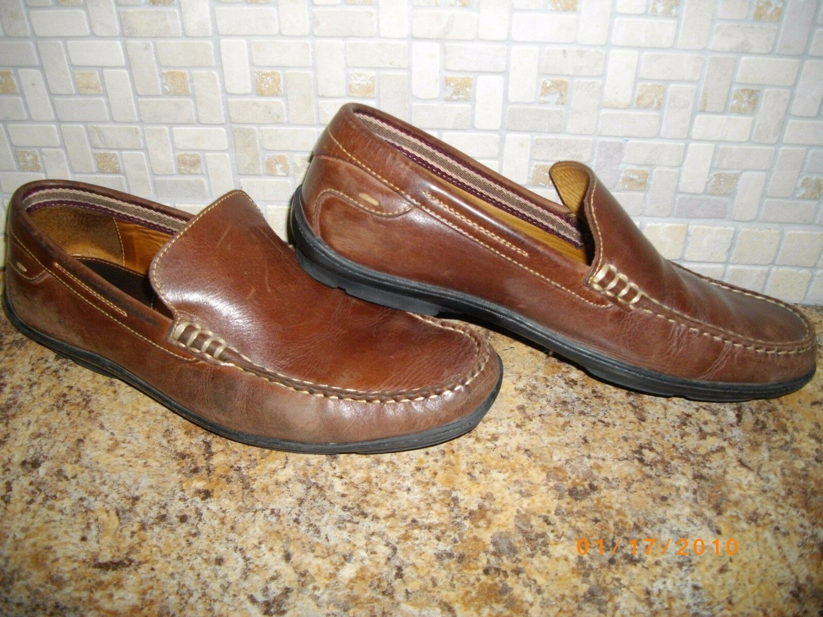 JOHNSTON AND MURPHY LOAFERS Uomo SIZE 9 Donna SIZE 10 LEATHER SHOES