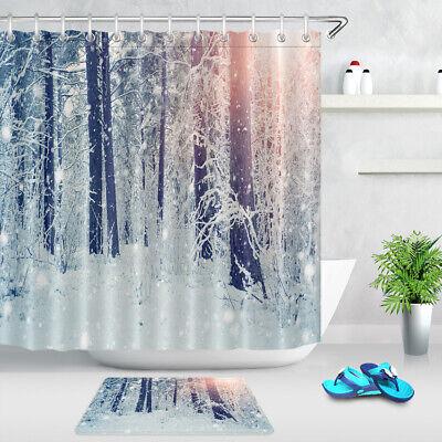 Watercolor Forest Green Fir Pine Tree Xmas White Shower Curtain Liner Bath Mat