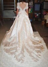 Alfred Angelo Beaded Short Sleeve White Wedding Dress w/Train & Veil