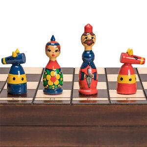 Russian-034-Babushka-034-Blue-and-Red-International-Wooden-Wood-Chess-Game-Set-16-5-034