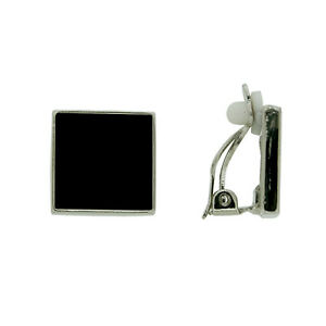 BRAND-NEW-VINTAGE-INSPIRED-ANTIQUE-RHODIUM-SILVER-PLATED-BLACK-CLIP-ON-EARRINGS