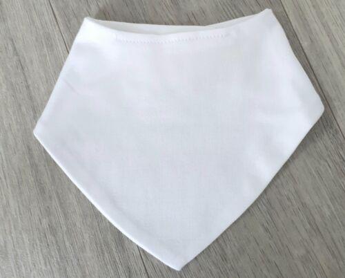 Bandanna Bib Plain Baby Cotton Blanks Wholesale Joblot Personalise White