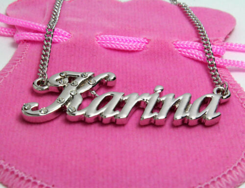 Name Necklace Karina 18K Gold PlatedCurb Chain Custom Made Birthday Gift