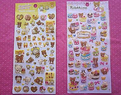 San-x Rilakkuma Kawaii Stickers, 2-sheets, Honey and Macaron Cake Theme