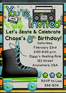 image is loading roller skating birthday party invitation boy - Roller Skating Birthday Party Invitations