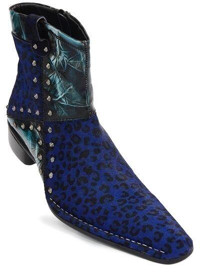Fiesso blu Leopard Leopard Leopard Pattern Pony Hair Leather Studded Party Trending Ankle avvio 80b956
