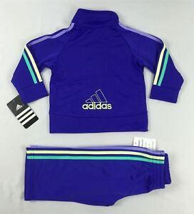 Adidas-baby-girls-039-set-2-piece-Tracksuit-Jacket-amp-pants-sizes-12-18-24-months