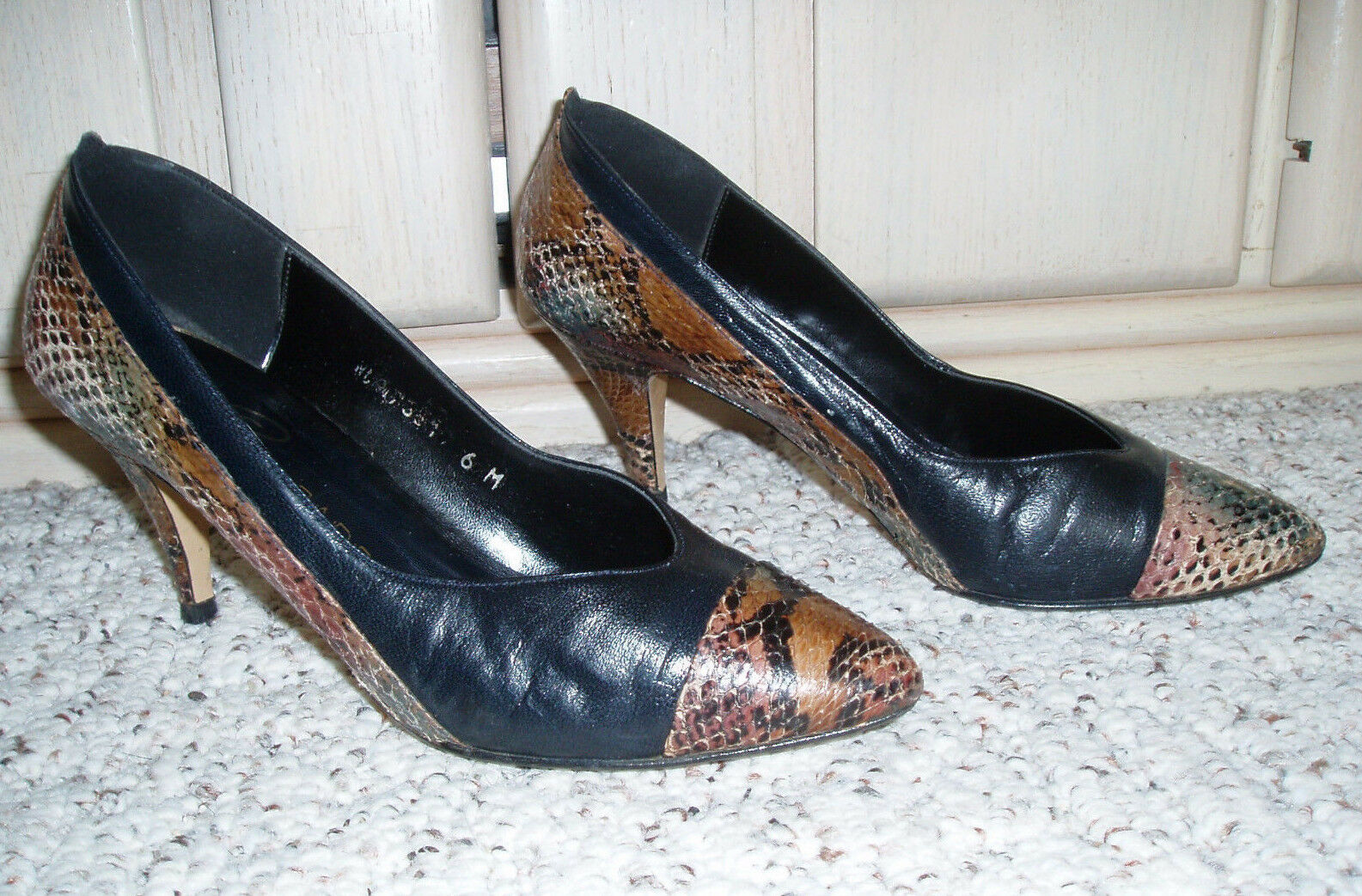 CHARADE Spain Snake Pattern Leather High 6 Heel Dress Pumps~ Browns~Size 6 High M 6bf976