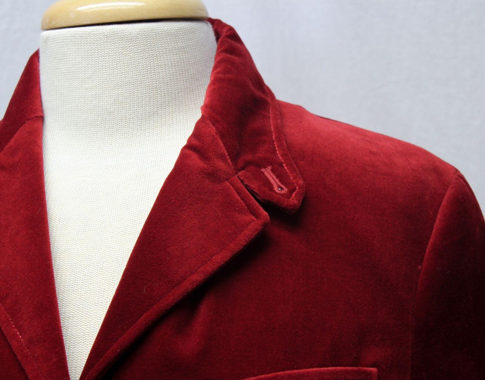 Ralph Lauren Red Velvet Blazer Jacket Size 10 - image 4