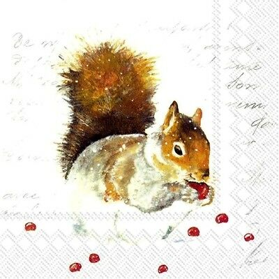 4 Lunch Paper Napkins for Decoupage Party Table Craft Vintage Winter Fox