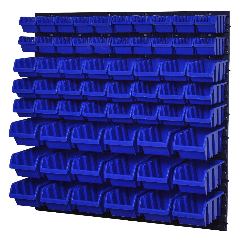 72 Boxen SET Lagersichtboxenwand Stapelboxen mit Montagewand Werkzeugwand