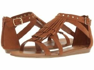 NIB-Strappy-Flat-Cognac-Brown-FERGALICIOUS-034-Dusty-034-Fringe-Shoe-Sandals-Sz-11