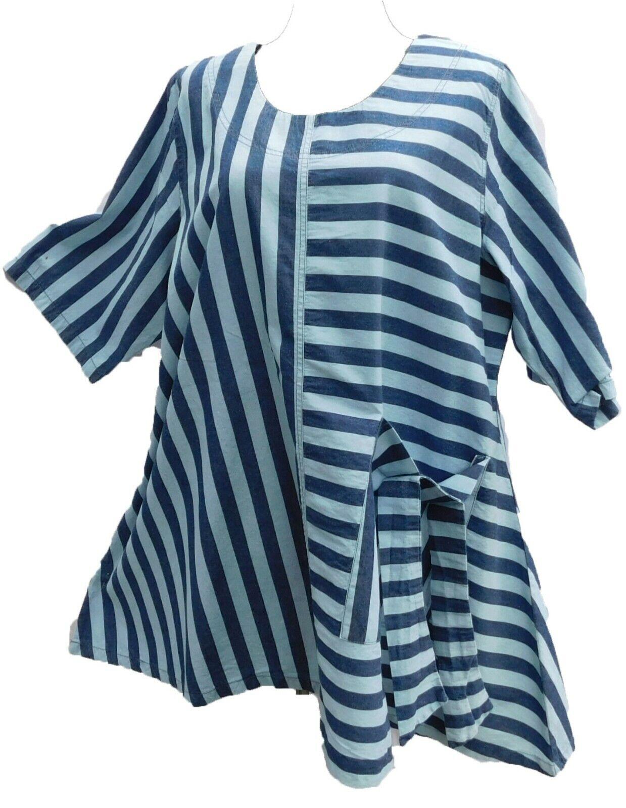 LABASS Tunika Shirt Jeans Look blau Lagenlook Streifen Baumwolle Gr. 56-58