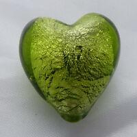 Peridot green silver foil glass heart beads 20mm X 5