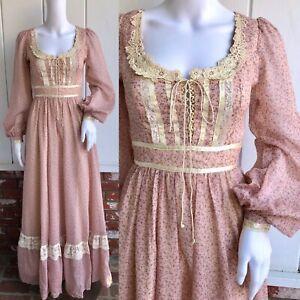 vtg 70s gunne sax hippie boho dusty pink calico lace up