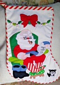 Vintage-Christmas-Stocking-Santa-Claus-amp-Cat-with-Candy-Stripes