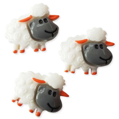 3pcs moutons blancs résine kawaii Flatback Cabochons Embellissement Decoden Artisanat