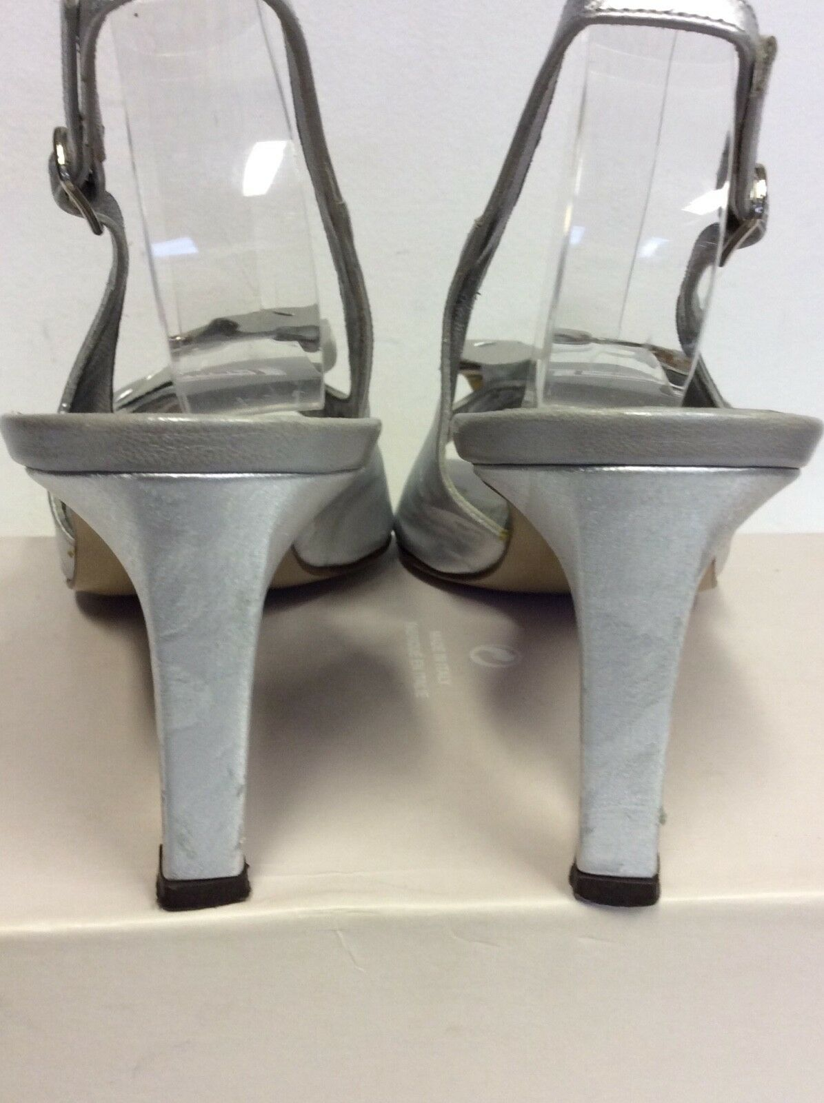 RENATA SILVER ALL HEELS LEATHER BOW TRIM SLINGBACK HEELS ALL SIZE 5.5/38.5 cebe5d