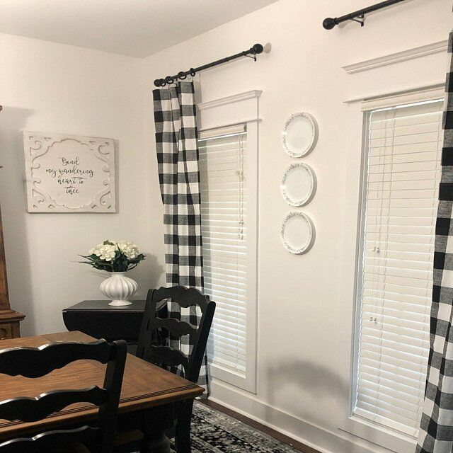 Plaid Buffalo Check Curtains Black and White Curtain Panels Country Decor