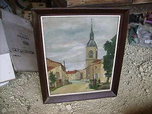 Tableau-ancien-HST-village-de-loisey-culey-meuse-55-vintage-1950