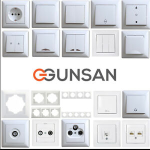 Gunsan-Visage-Schalter-Steckdose-Taster-Sat-TAE-Jalousie-Rahmen-Dimmer-waehlbar