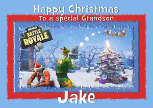 Fortnite Personalised A5 Christmas Card Son Daughter Brother