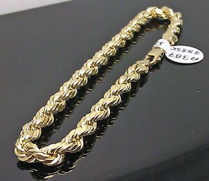 Image Is Loading Real 10k Men 039 S Yellow Gold Rope