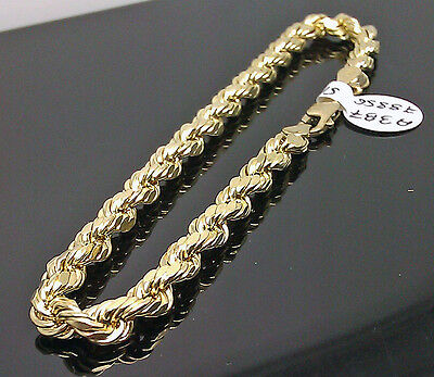 "Real <b>10K</b> Men's <b>Yellow Gold</b> Rope Bracelet 5mm 8"" Inch,Mens ..."