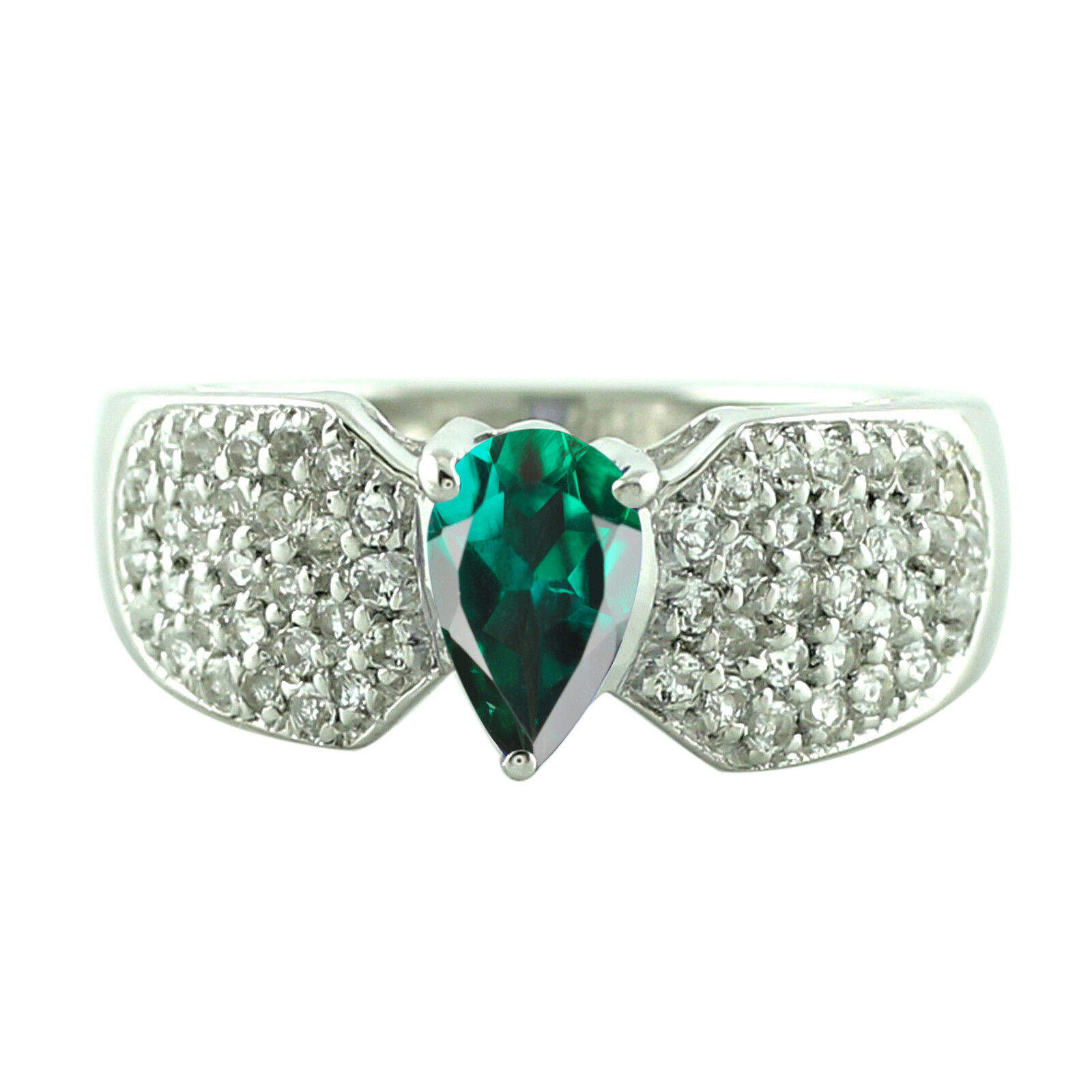 1.70Ct Natural Zambian Emerald  EGL Certified Diamond Ring In 14KT White gold