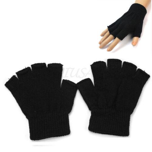 Adults Mens Winter Half Finger Gloves Plain Thermal Knitted  Fingerless Nove GN